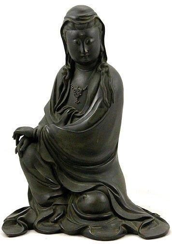 356: Japanese Bronze Quan Yin Figurine