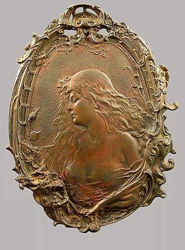 494: Art Nouveau Bronze Plaque of a Maiden