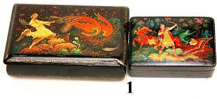 2 RUSSIAN PAINTED BOXES