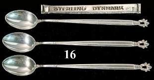 3 JENSEN STERLING ACORN SPOONS