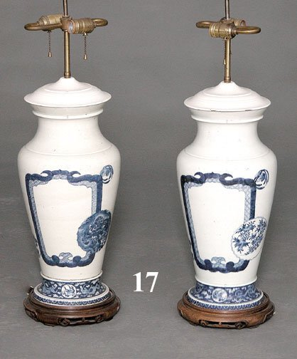 17: PAIR BLUE & WHITE VASES