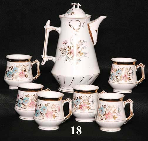 18: ENAMEL COFFEE POT & MUGS