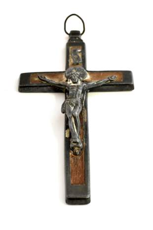 SILVER MOUNTED WOOD CRUCIFIX