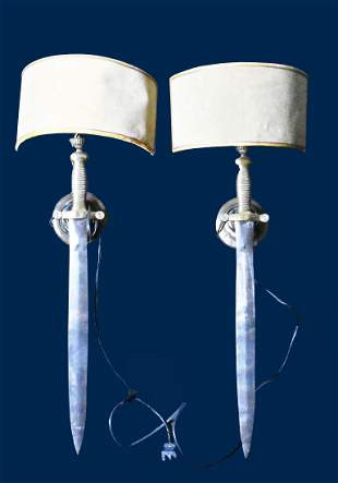 PAIR OF UNUSUAL BRASS AND STEEL SWORD WALL LIGHTS