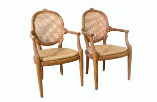 PAIR OF CHIP-CARVED FAUX BRANCH ARMCHAIRS