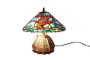 LEADED STAINED GLASS & PATINATED METAL TABLE LAMP