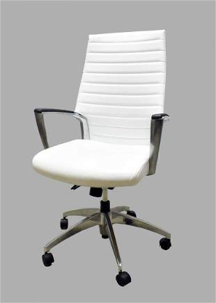 WHITE LEATHER AND CHROME SWIVEL DESK CHAIR
