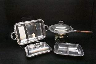 FOUR SILVER PLATE SERVING ITEMS