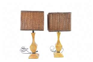 PAIR OF PAINTED WOOD LAMPS WITH HEMP SHADES