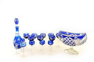 ASSOCIATED GROUP OF COBALT CUT TO CLEAR GLASS STEMWARE