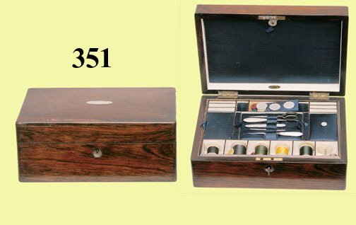 351: ANTIQUE ENGLISH SEWING BOX