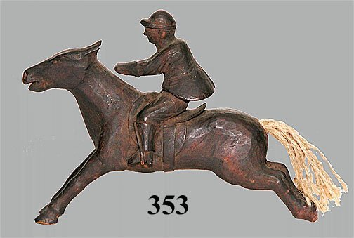 353: FOLK ART CARVED HORSE & RIDER