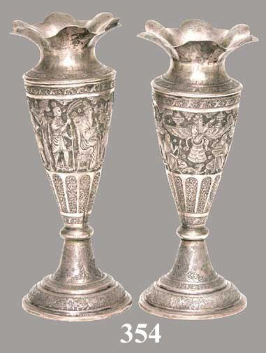 354: PR PERSIAN SILVERPLATED VASES