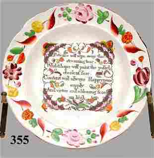 19th C PAINTED PLATE WITH VERSE