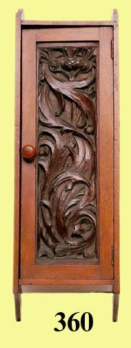 360: ANTIQUE CARVED WALNUT WALL CABINET