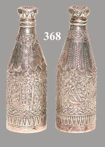 368: PAIR PERSIAN SILVER SHAKERS
