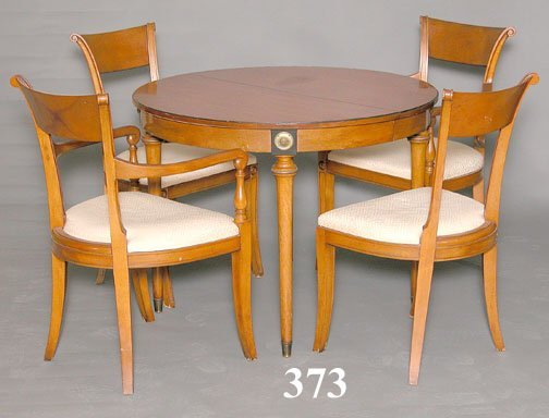 373: WALNUT TABLE & 4 CHAIRS