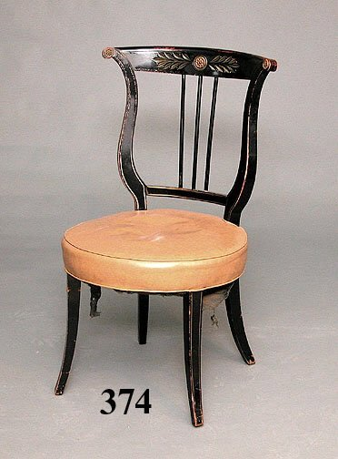 374: LYRE BACK HARDWOOD CHAIR