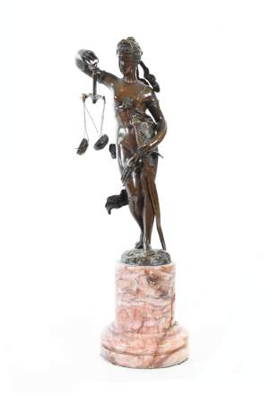 GRAND TOUR PATINATED BRONZE OF JUSTICE