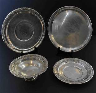 FOUR AMERICAN STERLING SILVER TABLE ITEMS