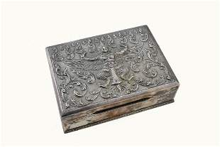 BURMESE STERLING SILVER CIGARETTE BOX