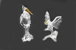 TWO SWAROVSKI FIGURES OF AN EAGLE AND A STORK