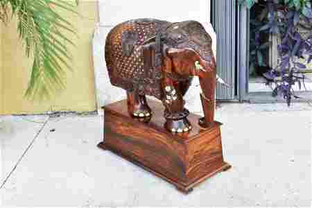 IMPRESSIVE MONUMENTAL INDIAN ROSEWOOD ELEPHANT