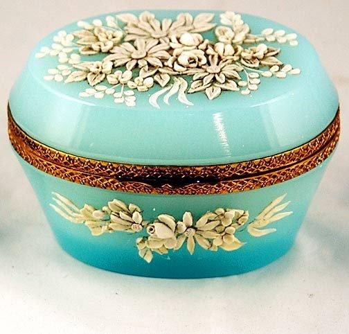 1: Blue Opaline Dresser Box