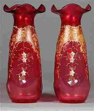 Pair Ruby Glass and Enamel Vases