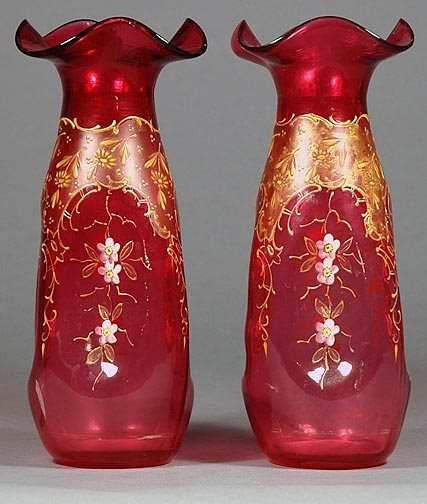 3: Pair Ruby Glass and Enamel Vases