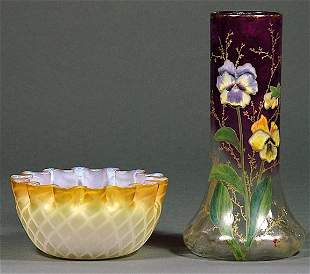 Small Satin Rim Bowl And Enamel Painted Vase