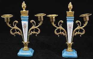 French Porcelain and Gilt Brass Candle stands