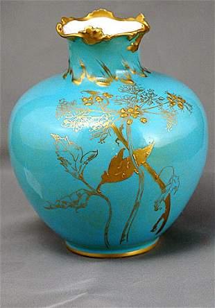 Royal Crown Derby Aqua Blue Bulbous Vase
