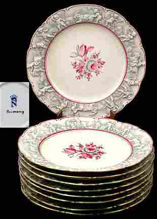 Nine Pieces Capodimonte Service Plates