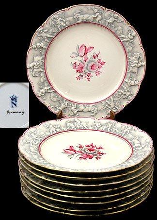 9: Nine Pieces Capodimonte Service Plates