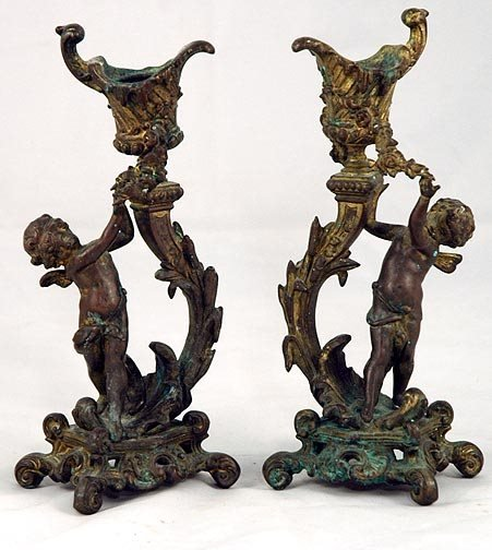 12: Pair of French Putti Figural Candlesticks