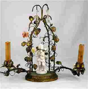 Brass and Porcelain Flower Table Lamp