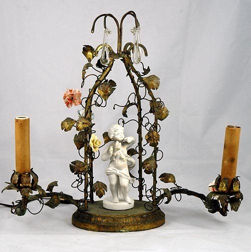 15: Brass and Porcelain Flower Table Lamp
