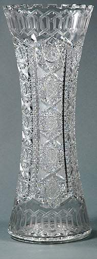 Tall Crystal Cut Alhambra by Meriden Glass Vase