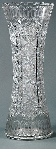 16: Tall Crystal Cut Alhambra by Meriden Glass Vase