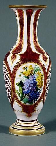 Bohemian Ruby Glass Floral Vase