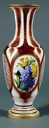 18: Bohemian Ruby Glass Floral Vase