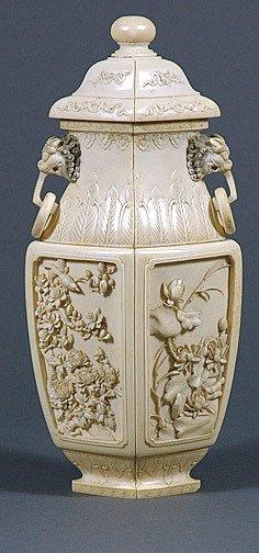 106: Carved Ivory Lidded Urn Jar Foo Lion Handles