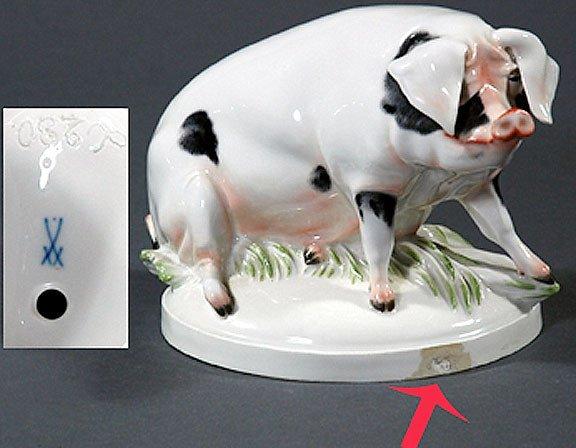 227: Meissen Pig Figurine