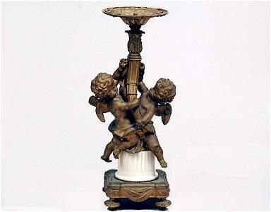 49: Bronze and Marble Figural Newell Lamp Base Cherubs