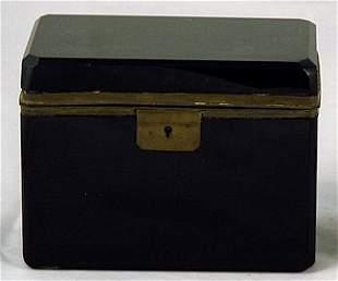 Black Opaline French Brass Mounted Glass Box.
