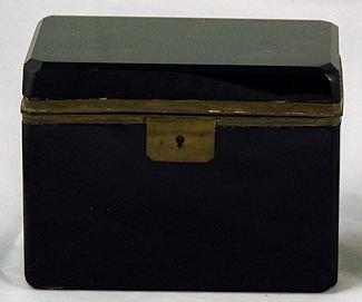 2A: Black Opaline French Brass Mounted Glass Box.