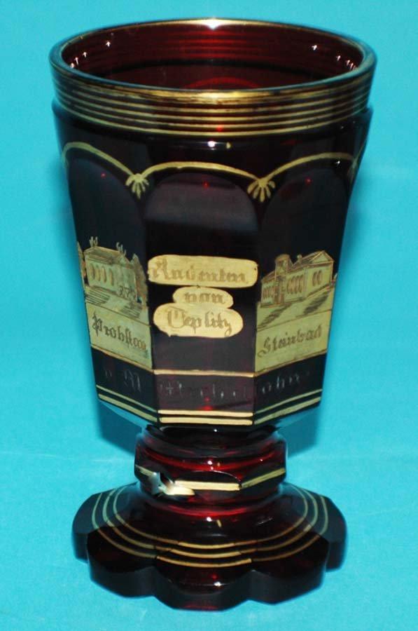15: GILT DEC. TOPOGRAPHICAL RUBY GLASS GOBLET