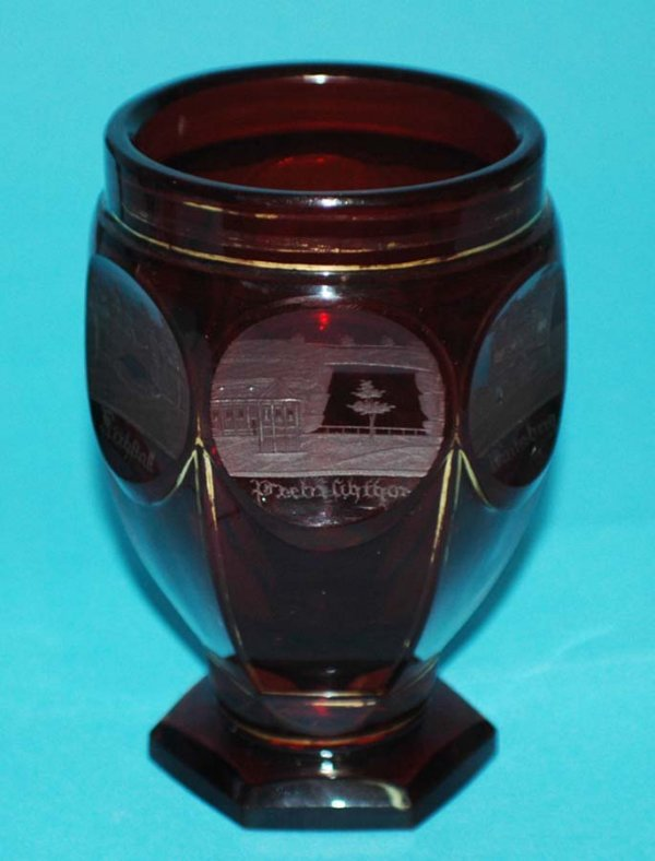 16: TOPOGRAPHICAL RUBY GLASS GOBLET
