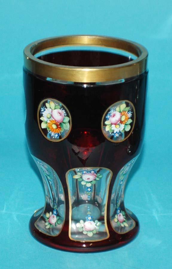 18: RUBY OVERLAY GLASS TUMBLER